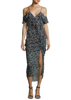 Veronica Beard Ruched Floral Silk Cold-Shoulder Midi Dress