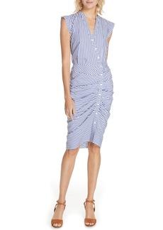 Veronica Beard Ruched Stripe Shirtdress