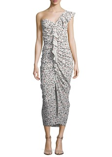 Veronica Beard Ruffian One-Shoulder Floral-Print Midi Dress
