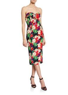 Veronica Beard Saffron Floral-Print Strapless Cocktail Dress