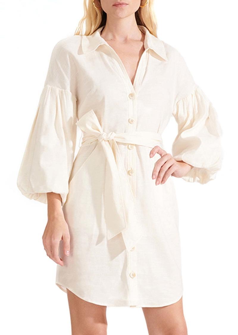 Veronica Beard Samy Linen Blend Mini Shirtdress