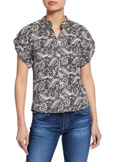 Veronica Beard Sanaa Printed Roll-Sleeve Shirt