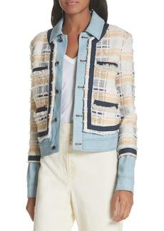 Veronica Beard Santiago Denim & Tweed Layered Jacket