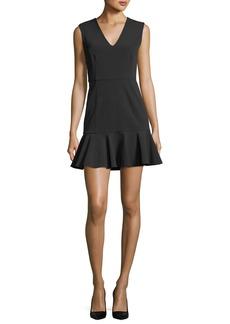 Scarlet Sleeveless Flounce-Hem Mini Dress