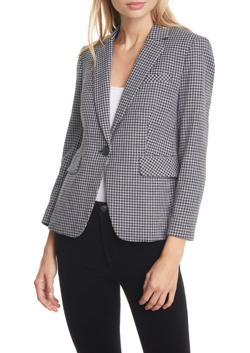 Veronica Beard Schoolboy Houndstooth Check Cotton Dickey Jacket