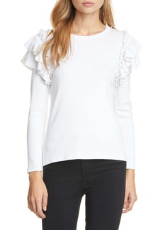 Veronica Beard Segrist Ribbed Ruffle Shirt