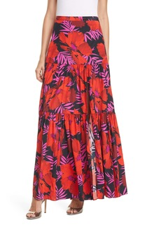 Veronica Beard Serence Tiered Stretch Silk Maxi Skirt