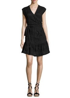 Veronica Beard Shadow Shirred Wrap Dress