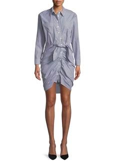 Veronica Beard Sierra Button-Down Long-Sleeve Striped Cotton Shirt Dress