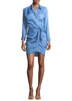 Veronica Beard Sierra Button-Front Ruched Mini Dress