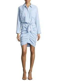 Veronica Beard Sierra Ruched Chambray Mini Dress