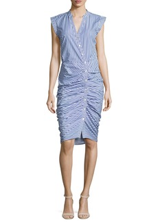 Veronica Beard Sleeveless Ruched Striped Shirtdress