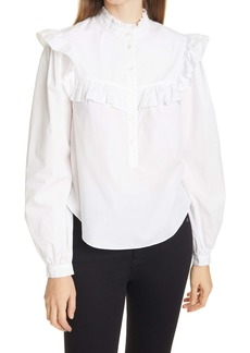 Veronica Beard Sonnet Ruffle Cotton Button-Up Blouse