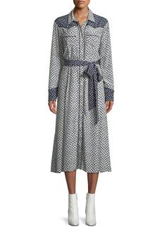 Veronica Beard Spur Floral Long-Sleeve Button-Front Dress