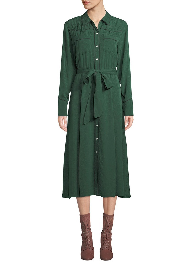Veronica Beard Spur Silk Jacquard Long-Sleeve Shirtdress