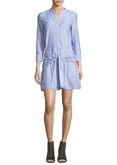 Veronica Beard Stella Tie-Front Striped Poplin Shirtdress
