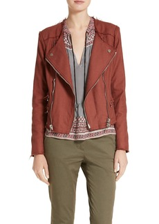 Veronica Beard Stevie Fringe Trim Moto Jacket