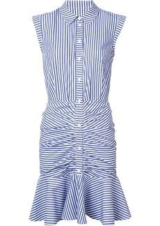 Veronica Beard striped ruched shirt dress - Blue