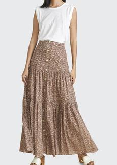 Veronica Beard Sundance Printed Button-Front Skirt