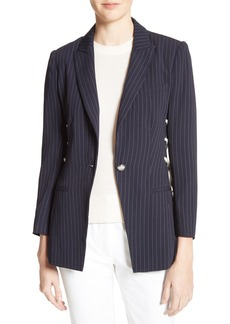 Veronica Beard Taylor Lace-Up Pinstripe Blazer