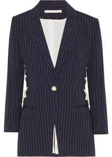 Veronica Beard Taylor lace-up pinstriped crepe blazer