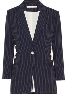 Veronica Beard Taylor lace-up pinstriped crepe blazer