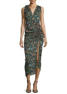 Veronica Beard Teagan Fall Garden Printed Silk Midi Dress