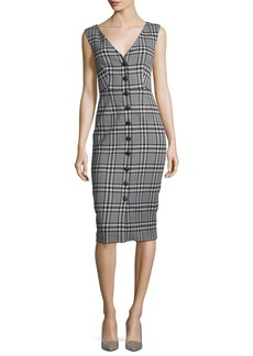Veronica Beard Lark V-Neck Button-Front Plaid Sheath Dress