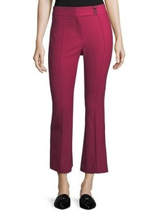 Veronica Beard Vaughn Mid-Rise Seamed Cropped Flare Pants