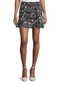 Veronica Beard Violet Painted Floral-Print Ruched Mini Skirt