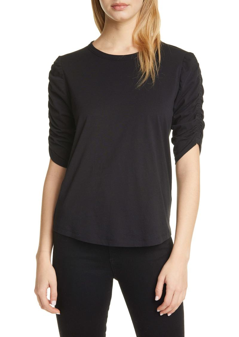 Veronica Beard Waldorf Ruched Sleeve T-Shirt