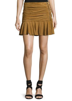 Veronica Beard Weston Ruched Leather Mini Skirt