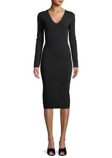 Veronica Beard Williams V-Neck Long-Sleeve Midi Dress
