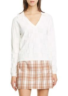 Veronica Beard Wilton Checkered Polo Sweater