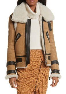 Veronica Beard Windsor Genuine Shearling Pilot Jacket