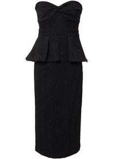 Veronica Beard Woman Allyson Strapless Jacquard Peplum Midi Dress Black
