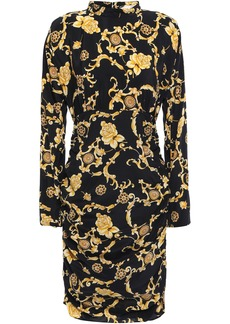 Veronica Beard Woman Amile Ruched Printed Stretch-silk Crepe De Chine Mini Dress Black