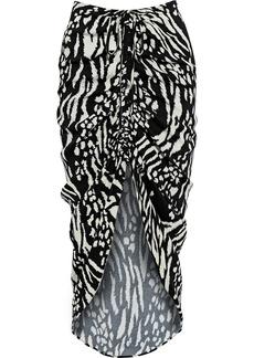 Veronica Beard Woman Ari Asymmetric Ruched Printed Crepe Skirt Black