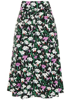 Veronica Beard Woman Avi Pleated Floral-print Cotton-blend Poplin Midi Skirt Black