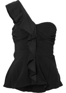 Veronica Beard Woman Bellamy One-shoulder Ruffled Crepe Top Black