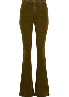Veronica Beard Woman Beverly Cotton-blend Corduroy Flared Pants Army Green