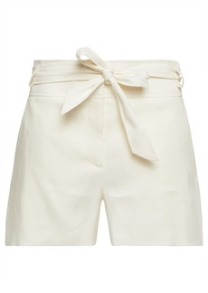 Veronica Beard Woman Borneo Belted Herringbone Linen-blend Shorts Ivory