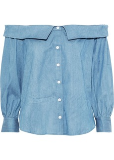 Veronica Beard Woman Britta Off-the-shoulder Gathered Chambray Top Light Blue