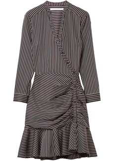 Veronica Beard Woman Button-detailed Striped Cotton Dress Black