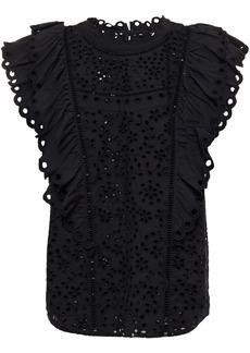 Veronica Beard Woman Calisata Ruffled Broderie Anglaise Cotton Top Black
