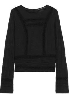 Veronica Beard Woman Carmen Crochet-trimmed Embroidered Cotton-gauze Top Black