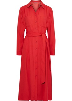Veronica Beard Woman Cary Belted Crepe Midi Shirt Dress Red