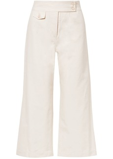 Veronica Beard Woman Cayman Cropped Cotton-canvas Wide-leg Pants Ecru