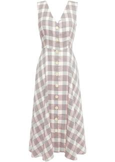 Veronica Beard Woman Checked Woven Midi Dress Ecru
