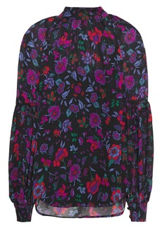 Veronica Beard Woman Cicely Gathered Floral-print Silk-chiffon Blouse Black